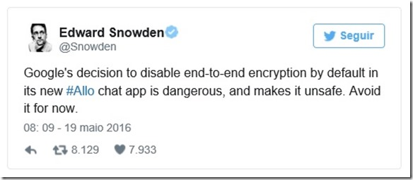 Post do Snowden no Twitter